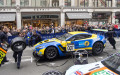Aston Martin Vantage Le Mans GT in a tyre changing demo at the Regent street Motor Show London